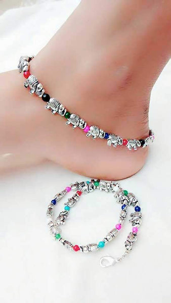 Elephant and Colourful Ball Anklet- ANK002 Multicolour elephant and bead regularwear set