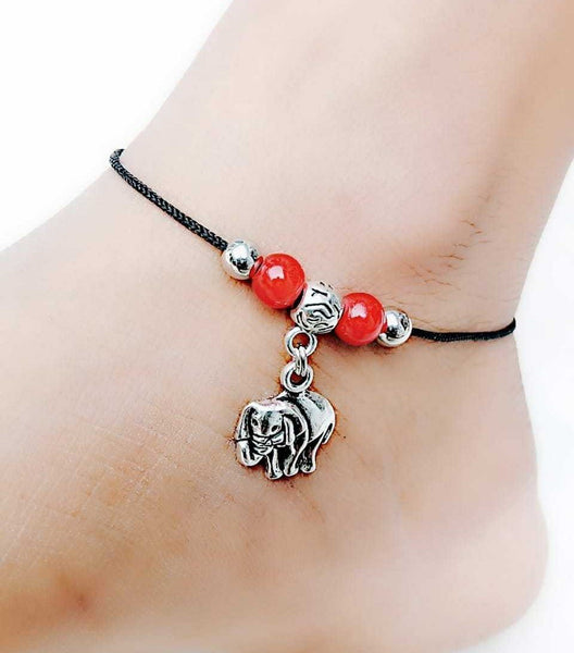 Single Elephant Anklet- ANK005 Simple lightweight elephant dropping set