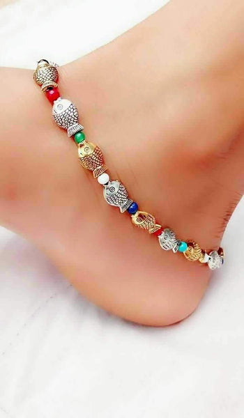 Colourful Fish Silver Anklet- ANK011 Fish shaped multicolour simple anklets