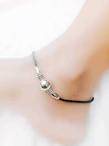 Single Ball Silver Anklet- ANK012 Lightweight simple silver and black set