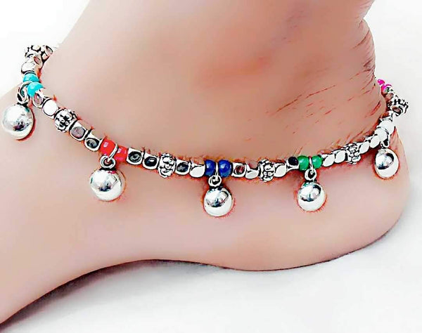 Colourful Hanging Ball Silver Anklet- ANK014 Multicolour hanging ball regularwear anklet