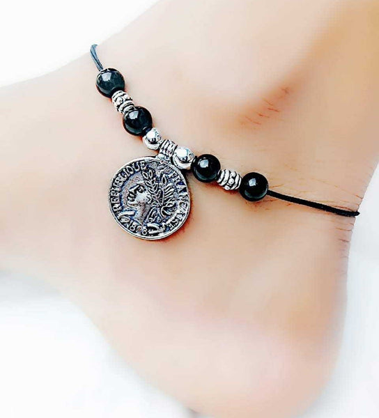 Coin Print Anklet- ANK017 Trendy coin shaped anklet for regular use