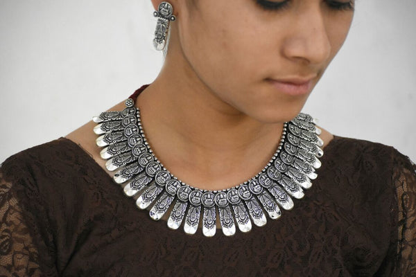 Antique Choker Necklace and Earrings-ACN018