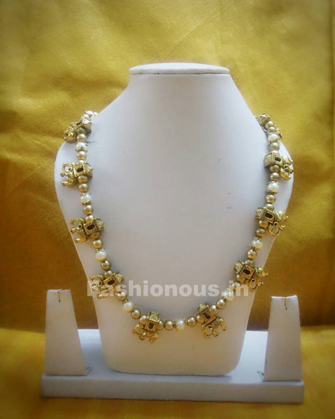 Antique Gold alter White Pearl and Pretty Elephant Beaded Polymer Clay Jewellery Set