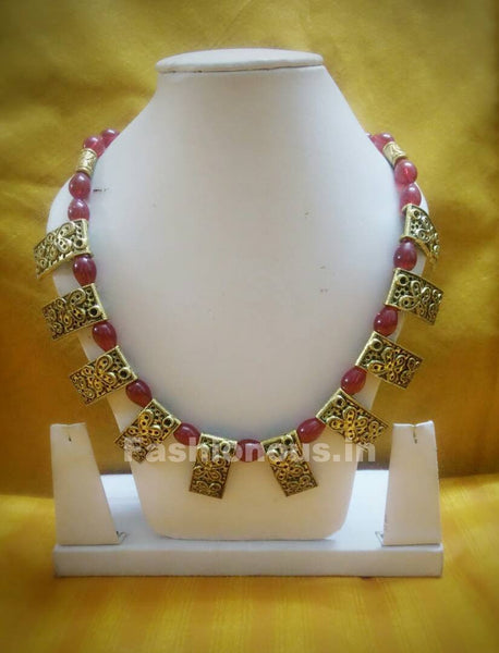 Antique Golden ButterFly with Red Beaded Polymer Clay Jewellery Set