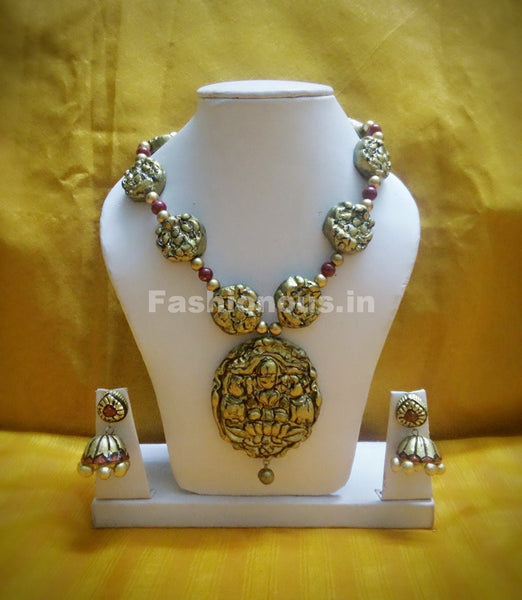 Antique Lakshmi Pendant Long Polymer Clay Jewellery Set