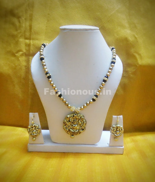 Antique Lakshmi Pendant with Golden and Black Beaded Long Polymer Clay Jewellery Set