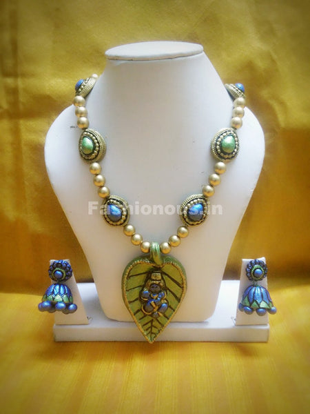 Antique leafy Krishna Pendant Long Polymer Clay Jewellery Set