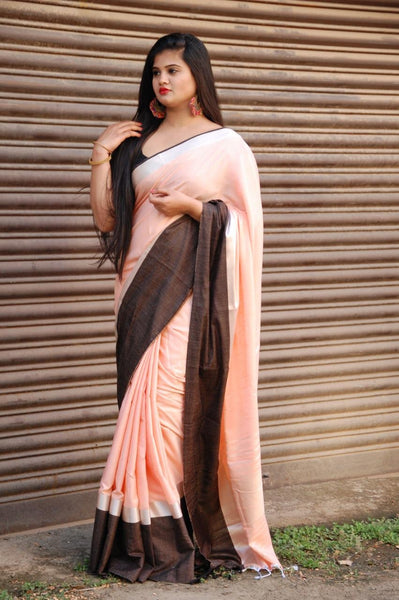 Apricot Peach Linen Saree with Brown Border-LN200
