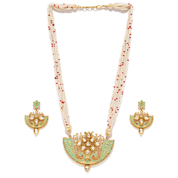 Red Bead Kundan Necklace Set