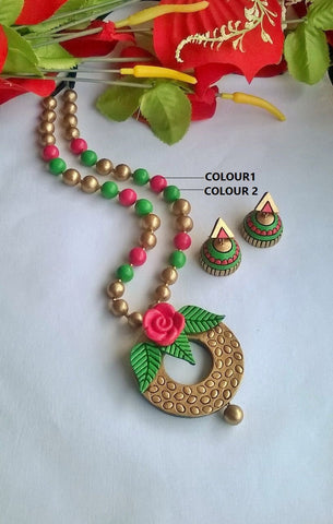 Beautiful Flower Terracotta Jewellery Set