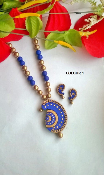 Blue Mango Pendant Terracotta Jewellery Set