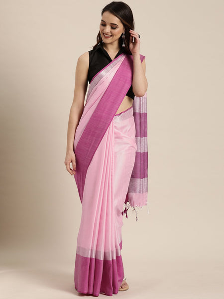 Baby Pink Attractive Big Border Angolla Linen Saree (Blend)