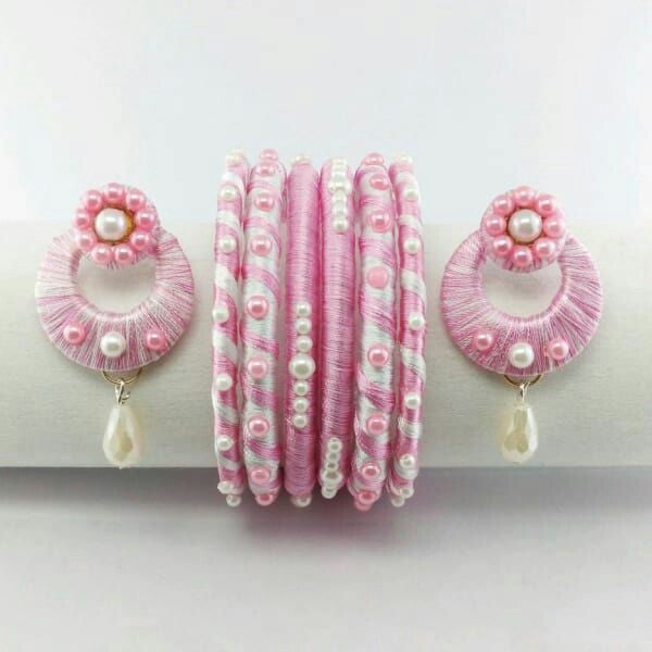 Baby Pink Color Silk Thread Stud Sets with Bangles