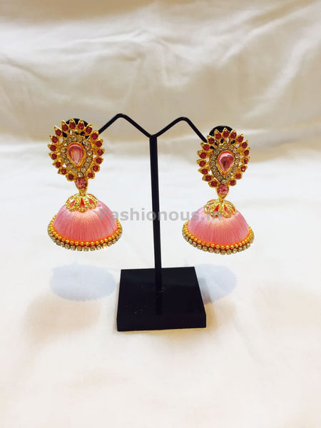 Baby Pink Stone Studded Droplet Silk Thread Jhumkas-STJH-025