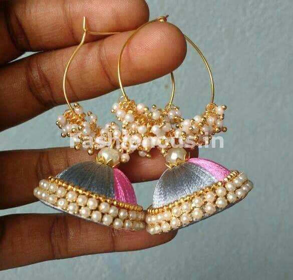 Baby Pink and Gray Beaded Silk Thread Jhumkas-STJH-074