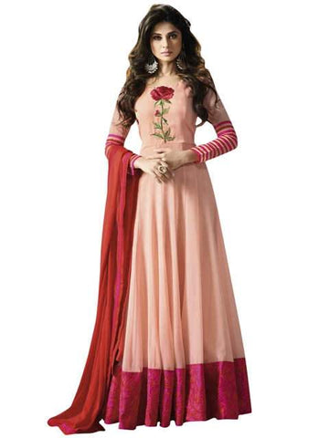 Baby Pink with Floral Embroidery Anarkali Suit-LKEDM-112