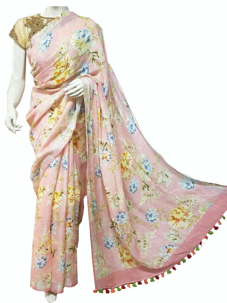 Baby Pink with Floral Printed Linen Saree