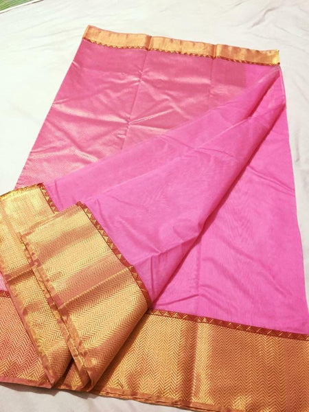 Baby Pink with Golden Zari Border Chanderi Silk Saree-CHANSRE-083