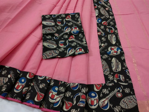 Baby Pink with Kalamkari Blouse Mercerized Silk Cotton Saree-SRE-813