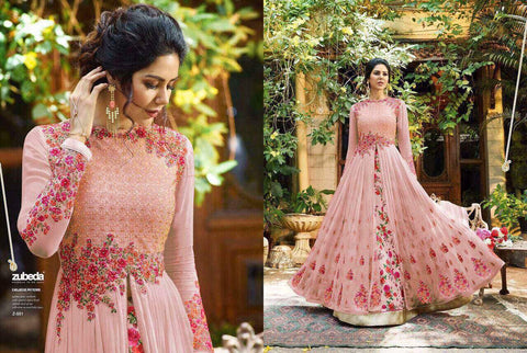 Baby Pink with Multicolor Floral Embroidery Anarkali Suit-LKEDM-188