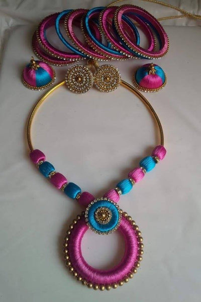 Baby pink and light blue Silk Thread Jewellery Set