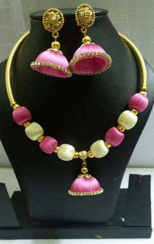 Baby pink and white Silk Thread Jewellery Set