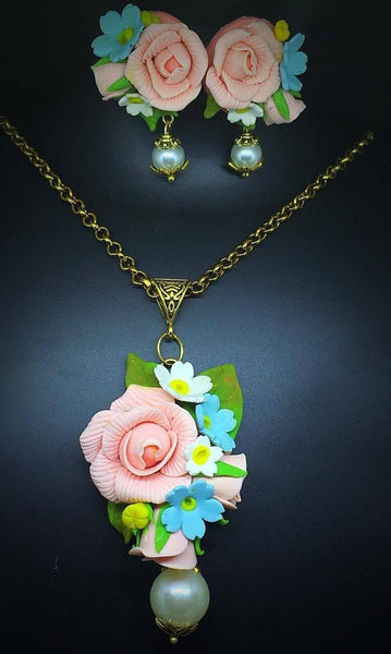 Lemonade Pink With Blue Floral Polymer Clay Pendant And Earrings