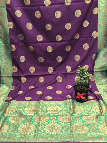 Mauve Marvel Katan Silk Saree -KSS013 purple and green coloured traditional saree