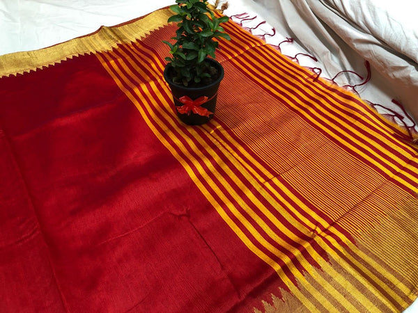 Blooming Scarlet Banarasi Raw Silk Saree-BNS033 red and yellow coloured casual wear saree
