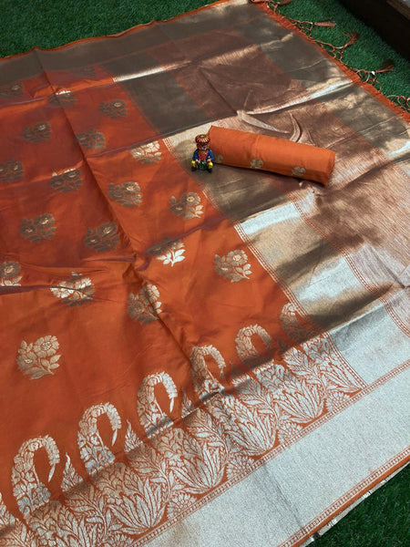 Amber Shine Banarasi Silk Saree-BNS049 orange coloured traditional silk saree