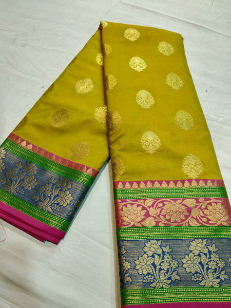 Yellow Green Blend Banarasi Silk Saree-BNS079 yellow green coloured festival saree