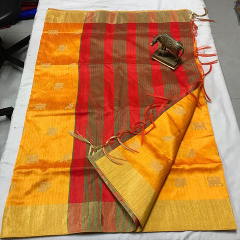 Golden - Red Duo Banarasi Silk Saree-Design BNS003 yellow and red coloured grand partywear saree