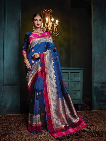 Azure Magnifica Banarasi Silk Saree-Design BNS021 dark blue and magenta coloured traditional saree
