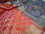 Banglori Silk Saree With Rich Contrast Zari Pallu With Brocade Blouse