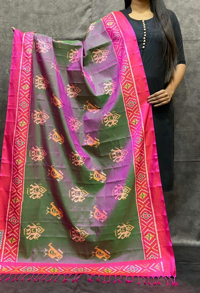 Basil Green with Pink Handwoven Pure Silk Patola Dupatta