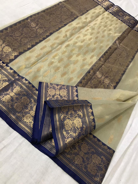 Beige Chanderi Silk Saree with Royal Blue Border- CSH057