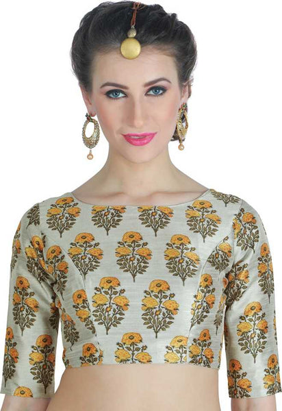 Beige Floral Printed Readymade Blouse