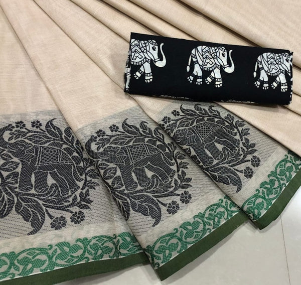 Beige Cotton Saree with Elephant Motif Border
