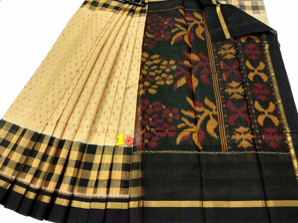 Beige and Black Ikkat Silk Cotton Saree-SRE-776