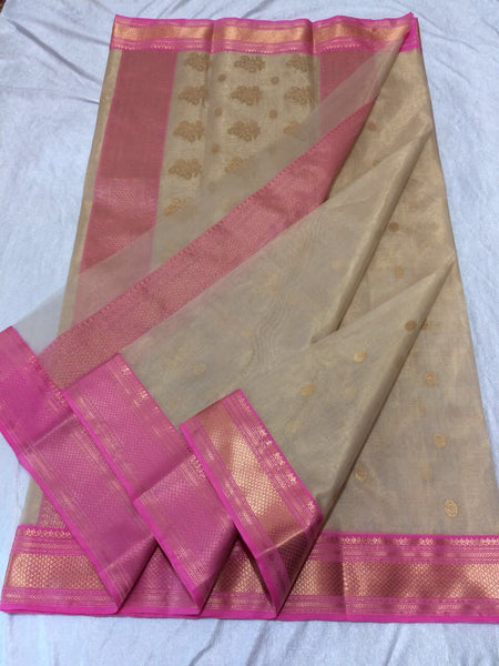 Beige with Floral Designed Pink Zari Border Chanderi Silk Saree-CHANSRE-093