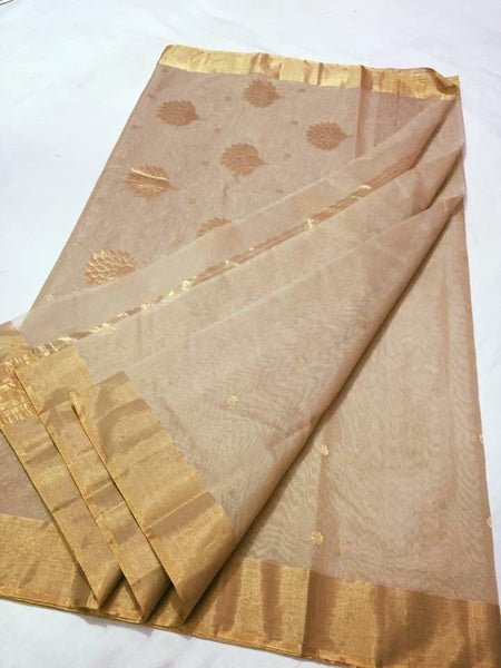 Beige with Golden Flower Designed Zari Border Chanderi Silk Saree-CHANSRE-044