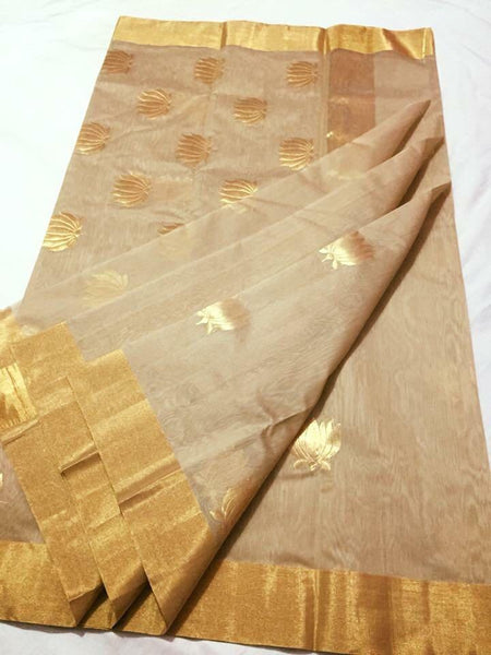 Beige with Golden Lotus Zari Border Chanderi Silk Saree-CHANSRE-081