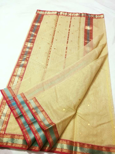 Beige with Pink and Blue Zari Border Chanderi Silk Saree-CHANSRE-062