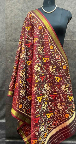 Berry Red Handwoven Pure Silk Patola Dupatta