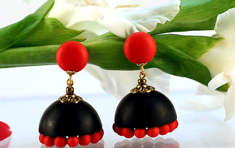 Black & Red Polymer Clay Jhumka