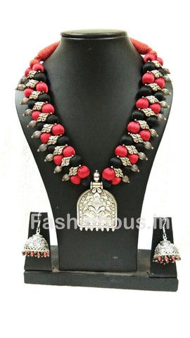 Black And Red Silk Thread Beads With Silver Oxidized Pendant And Earrings-OXDJSW-016