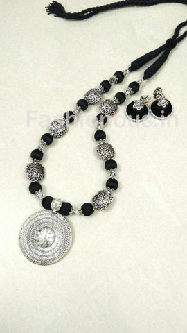 Black Silver Oxidized Necklace And Earrings-OXDJSW-023