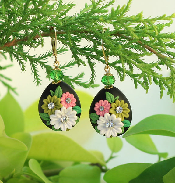 Black Drop Garden Polymer Clay Earrings