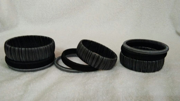 Black Dual Color Fancy Wear Silk Thread Bangles-STBS-003